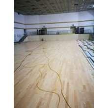 扶余采油厂体育馆运动实木地板施工中